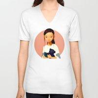 chihiro V-neck T-shirts featuring Chihiro by Samuel Youn