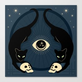 Midnight Cats Doing Their Dark Business Canvas Print
