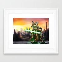 jedi Framed Art Prints featuring Gerbil Jedi by Wesley S Abney