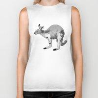 kangaroo Biker Tanks featuring Kangaroo by Goodnight Silver