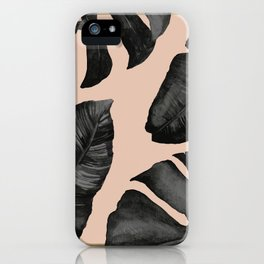 Classic Tropical Palm Leaves Powder Pink and Gold iPhone Case