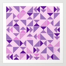 Purple Geometric Triangle Art Print