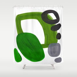 Mid Century Vintage 70's Design Abstract Minimalist Colorful Pop Art Olive Green Dark Green Grey Shower Curtain
