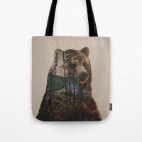 lake Tote Bags featuring Bear Lake by Davies Babies