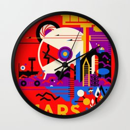 NASA Mars The Red Planet Retro Poster Futuristic Best Quality Wall Clock
