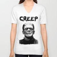frankenstein V-neck T-shirts featuring Frankenstein  by negativecreep