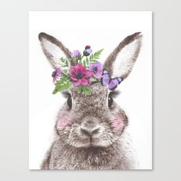 Bunny with flowers Canvas Print
