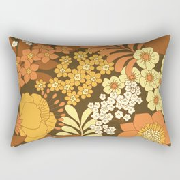 Brown, Yellow, Orange & Ivory Retro Flowers Rectangular Pillow