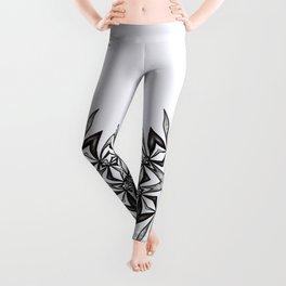 Kaleidoscopic Flower Art In Black And White Leggings
