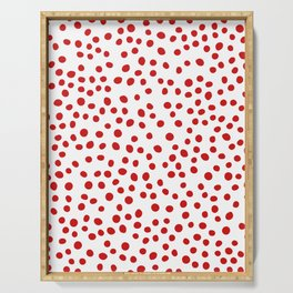 Red doodle dots Serving Tray