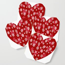 Red Heart Of Snowflakes Loving Winter and Snow Coaster