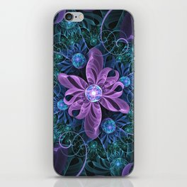 Bejeweled Butterfly Lily of Ultra-Violet Turquoise iPhone Skin