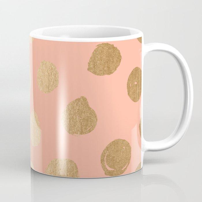 Sweet Life Polka Dots Peach Coral + Orange Sherbet Shimmer Coffee Mug