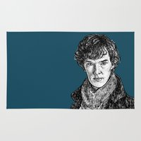 benedict Area & Throw Rugs featuring Sherlock, Benedict Cumberbatch by Sharin Yofitasari