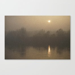 Impressionist Landscape Winter River with Fog and Sun Canvas Print
