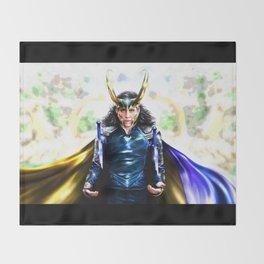 Loki - Ragnarok IV Blue Throw Blanket