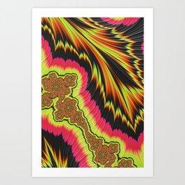 Solar Flares Bombard Fractal Cells; Divine Beauty Revealed Art Print