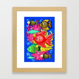 Fish Cute Colorful Doodles Framed Art Print