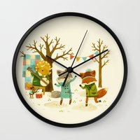 dancing Wall Clocks featuring Critters: Spring Dancing by Teagan White