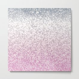 Silver and Pink Glitter Ombre Metal Print