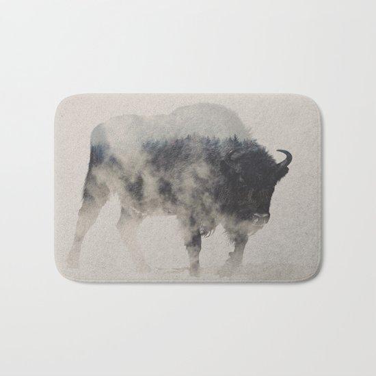 Bison In The Fog Bath Mat
