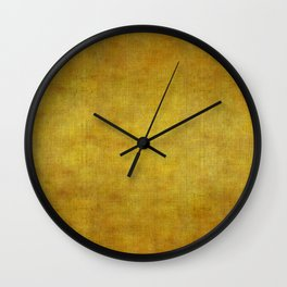 """""""Gold & Ocher Burlap Texture"""" Wall Clock"""