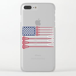 USA Flag Lacrosse Gift Clear iPhone Case