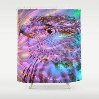 hawk Shower Curtains featuring exceptional hawk by MehrFarbeimLeben