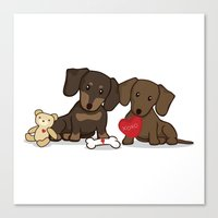 daschund Canvas Prints featuring Valentine's Day Love Daschund Illustration by Li Kim Goh