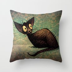 Black Oriental Cat Throw Pillow