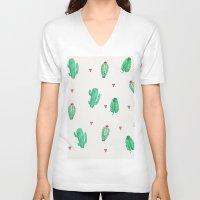 cactus V-neck T-shirts featuring CACTUS by Ceren Aksu Dikenci