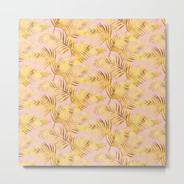 Palm Leaves_Gold and Rose Quartz Metal Print