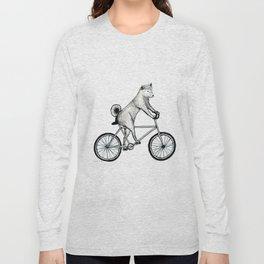 Shiba Inu Riding a Bicycle Long Sleeve T-shirt