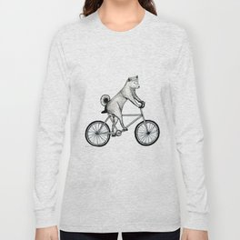 Shiba Inu Riding a Bicycle Long Sleeve T-shirt
