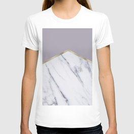 Smokey lilac - gold geometric marble T-shirt