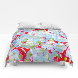 BLUE TINGED WHITE PHLOX FLOWERS RED Comforters