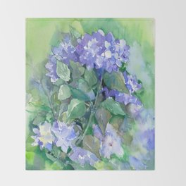 Hydrangea, Sky Blue Flowers, Royal Blue Wall art Throw Blanket
