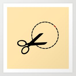 Cut here with scissors Art Print