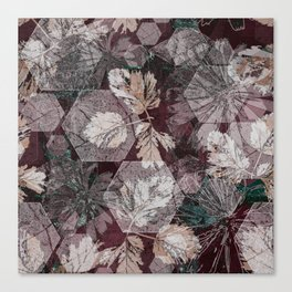 Hexagons, leaves and flowers Canvas Print