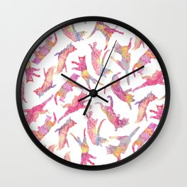 Watercolor Flying Cats - Pink Palatte Wall Clock