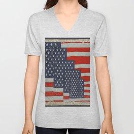 Patriotic Americana Flag Pattern Art Unisex V-Neck