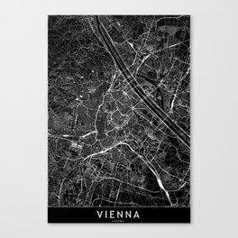 Vienna Black Map Canvas Print