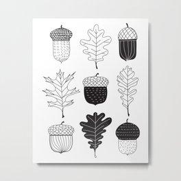 Acorns and oak leaves autumn pattern Metal Print