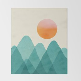 Abstraction_Mountains_SUNSET_Landscape_Minimalism_003 Throw Blanket