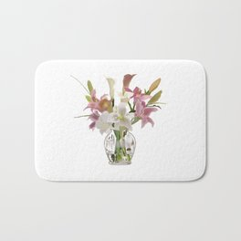 vase and flowers on white background . artwork Bath Mat