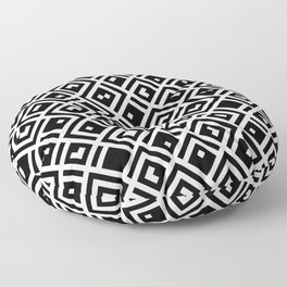 Abstract Black And White Squares - QR Code Floor Pillow