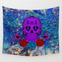 sugar skull Wall Tapestries featuring Sugar Skull by haroulita