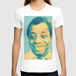 James Baldwin Portrait Teal Gold Blue T-shirt