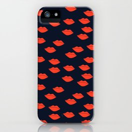 Red Lips on Navy Blue Background iPhone Case