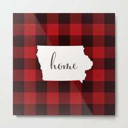 Iowa is Home - Buffalo Check Plaid Metal Print
